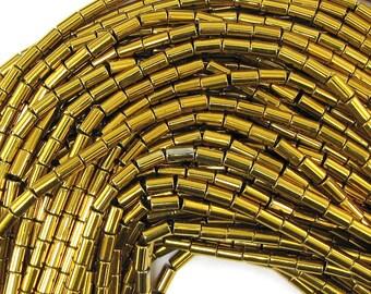 "3x5mm gold plated hematite tube beads 16"" strand 30929"