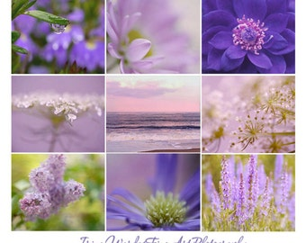 Floral photography set of 9 prints, purple wall art set 9 flower art photos, lavender wall print set 9 pictures of nature, photo gift, SALE