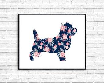 Floral Cairn Terrier Dog Art Print - Digital Download Print