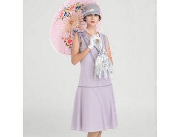 Pretty 1920s cotton dress in pale lilac grey with bow on shoulder, Great Gatsby dress, 1920s high tea dress, Downton Abbey dress, 20s dress