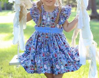 Alice in Wonderland pinafore dress, baby girl pinafore dress, wonderland dress, toddler Alice in Wonderland dress, girls pinafore dress,