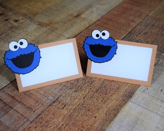 Cookie Monster Place card, Cookie Monster Tent Card, Cookie Monster Birthday, Cookie Party, Cookie Decor, Sesame Street, Cookie Monster