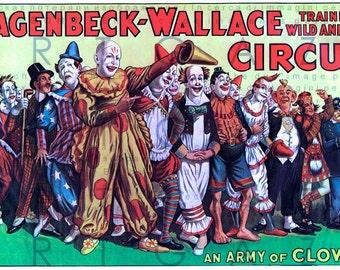 An Army Of Clowns Vintage CIRCUS Poster DIGITAL Circus Print Digital Download