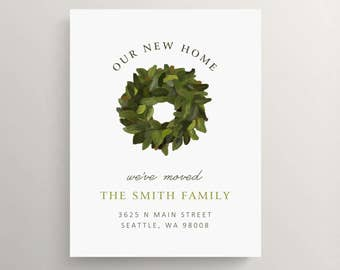 magnolia wreath moving announcement, farm house moving announcement, new home announcement, house warming party, we've moved card