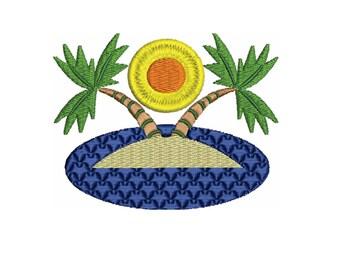 Beach Island  Embroidery Design