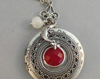 Strawberry Moon,Moon,Moon Locket,Ruby Necklace,Ruby,Moonstone,Moonstone Necklace,Ruby Locket,Strawberry,Red Necklace,Red Locket,White