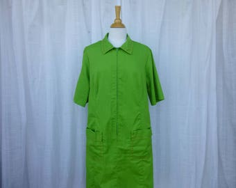 Vintage 60s Park East by Swirl Zipped 100% Cotton Dress XL Grass Green Short Sleeve Princess Fitted Bust-Darts Pockets Mod Hipster Glam Garb