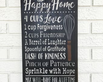 Recipe For A Happy Home, Happy Home Recipe, Happy Home Sign, Recipe Happy Home, Happy Marriage Sign, Rustic Wood Sign, Farmhouse Style Sign