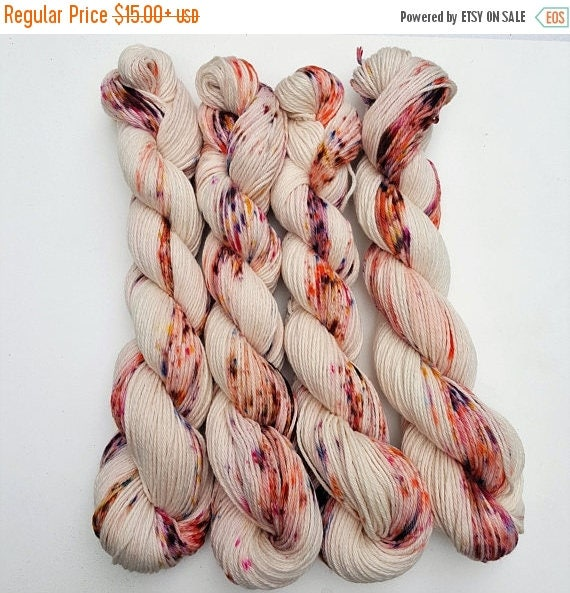 Tea Time- 100 Cotton Yarn, Hand Dyed, Speckled Variegated Yarn