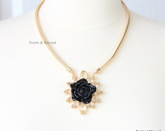 Black Solitary Rose Crystal Pendant Charm Necklace Rose Necklace