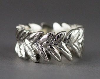 Sterling Leaf Ring - Laurel Leaf Band - Wheat Band Ring