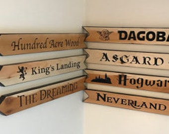 Personalized Arrow Sign, Custom Arrow Sign, Fantasy Arrow Sign, Directional Sign, carved wooden sign