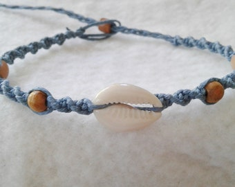 Blue Cowrie Shell Hemp Anklet  - Hemp Ankle Bracelet - Natural Bohemian Jewelry