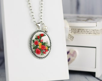 Hand rococo embroidered necklace, cameo pendant, silver tone, pink rose & beads embroidery
