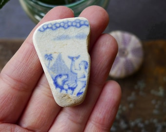 Rare Pottery Shard / Blue Figurative Pottery / Scottish Sea Pottery / Vintage Pottery