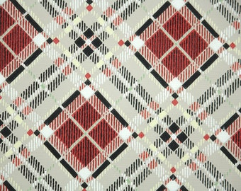 1950s Vintage Wallpaper by the Yard - Plaid Vintage Wallpaper of Gray Red and Black