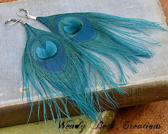 Turquoise Blue Peacock Feather Earrings - Boho, Belly Dance, Tribal, Gypsy