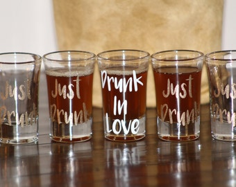 GLITTER Drunk In Love/Just Drunk Shot Glass - Bachelorette Party - Bride to Be Shot Glass - FREE BRIDE glass with purchase of 5 or more