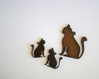 Sitting Cat Recycled Metal Pendant and Earring Set