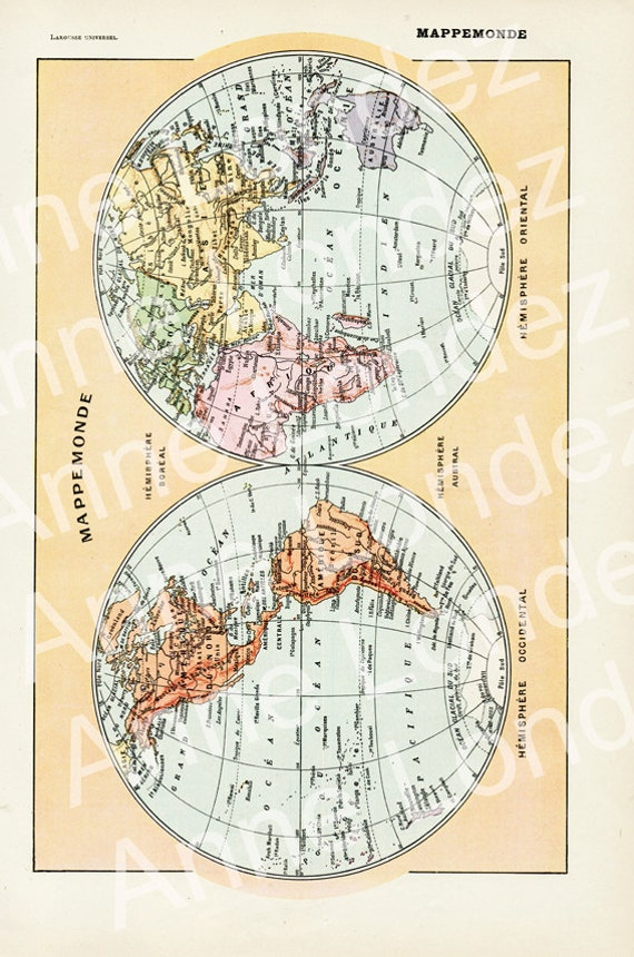1922 vintage world map vintage french dictionary page antique te gusta este artculo gumiabroncs Gallery