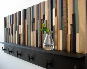 Wood Coat Rack with Shelf, Rustic Wood Sculpture, Coat Hooks, Modern Coat Rack, Rustic Wood Coat Rack, Storage Rack, Hat Rack, Rustic Shelf