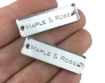 Mirror/ Clear NARROW Acrylic Tags/Custom Tags/Engraved Tags/Knit Tags/Crochet Tags/Yarn Tags/Branded Tags
