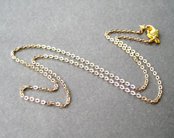 18 Inch Gold Plated Chain Necklace, Modern Flat Cable Chain 1.8mm, Lobster Claw Clasp, Simple Gold Necklace for Pendants