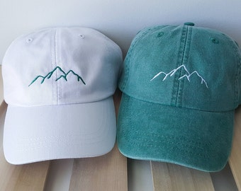 Monogrammed hat, Logo Hats, Leather Strap hat, Monogrammed logo hat, Mountain logo