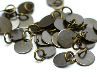 """50 Pieces Antique  Brass  8 mm (5/16"""" ) Round Disc with Jump Ring Attached Charms Findings"""