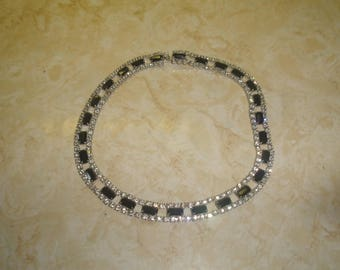 vintage necklace choker black white glass rhinestones silvertone
