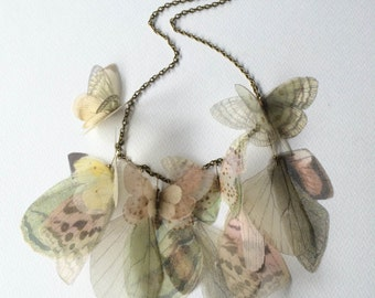 Handmade Necklace, Butterfly Necklace, Pastel Pink Green and Yellow Silk Organza Butterflies and Wings Necklace, Statement Necklace, OOAK