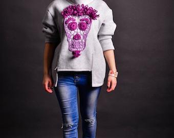 Winter Handmade sweatshirt + sugar skull, hoodie + crochet applique, long sleeve pull over + knitted application, oversized sweater + cutout