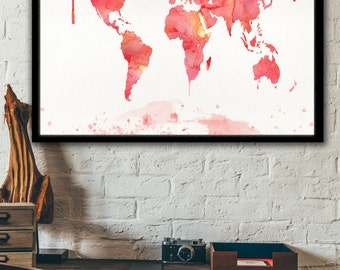 World map watercolor etsy travel map print world map watercolor painting world map print modern home gumiabroncs Gallery