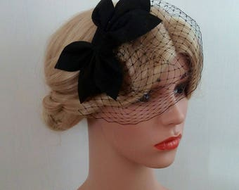 Black Birdcage Veil Fascinator, Black Birdcage Veil hat, Black Birdcage Veil Headband, Black Wedding Hat, Black Wedding Hair Piece Black