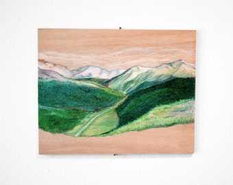 Mountain Drawing, Colorado Art on Wood, 8x10 by YtterbergStudio
