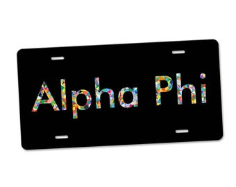 Alpha Phi License Plate Monogram - Personalized Sorority Auto Tag LP1045