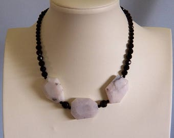 Natural Pink Opal Large Freeform Beaded Necklace