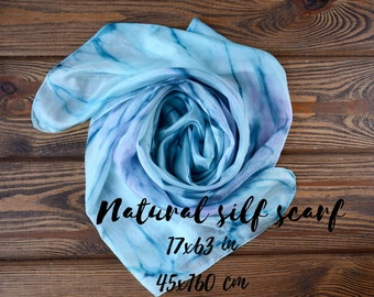 Blue short silk scarf - small chunky hair hand painted women scarves neck wrap 17x63in
