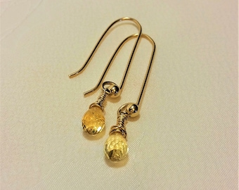 Citrine Earrings , November Birthstone Earrings , Gold Citrine Earrings