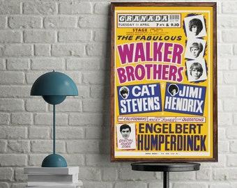 Walker Brothers Jimi Hendrix 1960s vintage poster canvas printing wall decor print home decor printable prints art print photo magnets