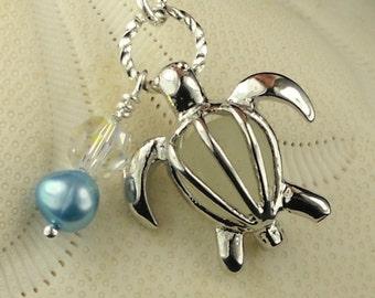 SALE Sea Glass Jewelry Turtle Locket Necklace Winter White