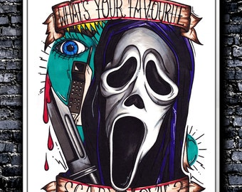 What's Your Favourite Scary Movie? - A5/A4/A3 Signed Art Print (Inspired by Scream)