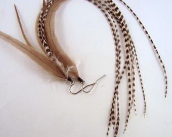 long taupe Feather Earrings with grizzly
