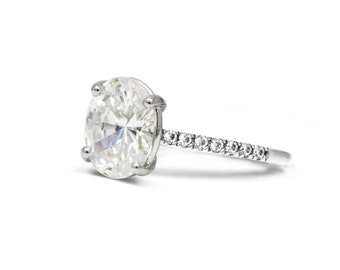 Oval moissanite engagement ring.