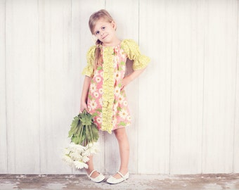 Merideth's Center Ruffle Peasant Dress and Top PDF Pattern size 6-12 months to size 8