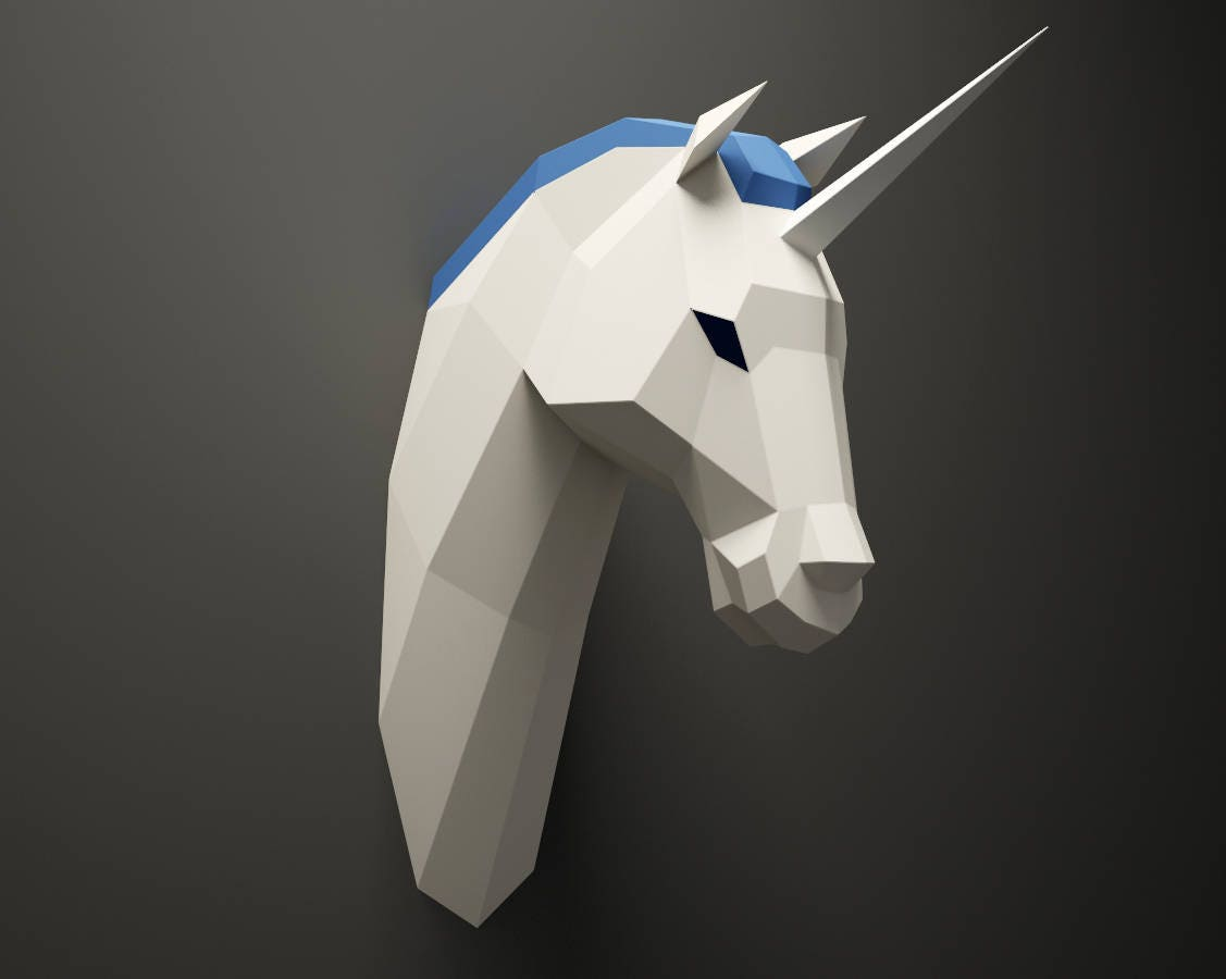 Diy unicorn head paper animal trophy 3d paper model low for Chambre unicorn