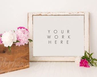 Rustic Frame and Peonies Styled Mock Up - 11x14 Frame size - High Resolution JPG