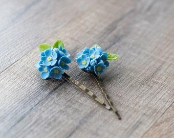 Blue flower hair clips - forget me not flower bobby pins - floral hair piece - flower hair accessories - summer hair clips - blue wedding