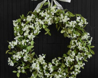 Farmhouse Greenery and White Floral Front Door Wreath