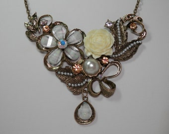 """17"""" Fashion Necklace Bib Style Resin Rose Floral Cluster Antiqued Gold Neo Victorian Romantic Bride Bridal Wedding Vintage Inspire Gift Idea"""